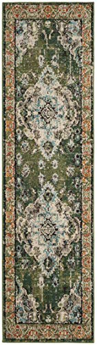 (Safavieh Monaco Collection MNC243F Vintage Oriental Forest Green and Light Blue Distressed Runner (2'2