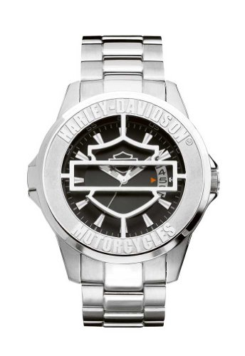 Harley-Davidson Men's Bulova Watch. Black patterned dial. Luminous with hinged cover. 76B143