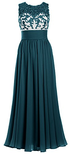 MACloth Women Lace Chiffon Long Prom Dress Illusion Wedding Party Formal Gown Teal