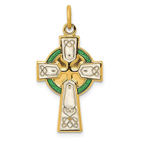 925 Sterling Silver/gold Plated Epoxy Cross Religious Pendant Charm Necklace Celtic Iona Fine Jewelry Gifts For Women For Her