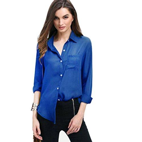 高さパンフレットもう一度Hanaturu シャツ レディース ブラウス シフォン ゆったり 胸ポケット 大きいサイズ ワイシャツ  長袖トップス 無地 シンプル オフィス 通勤通学 黒白灰色 ピンク グレー グリーン ブルー S-5L (ブルー, M)