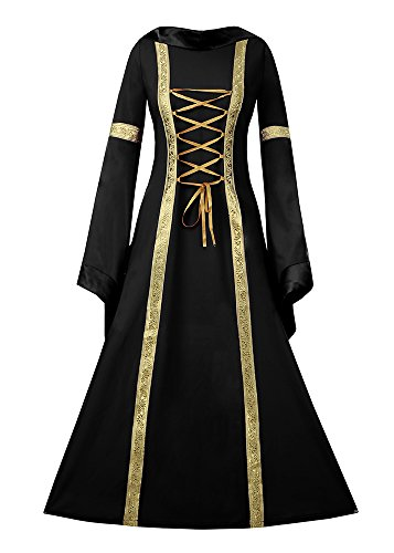 Fashare Womens Medieval Renaissance Costumes Lace Up Floor Length Irish Over Dress Plus Size -