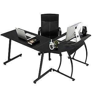 Coavas Computer-Desk Office Desk L-Shaped Wood Corner Desk Computer Workstation Large PC Gaming Desk Home-Office Table 148x112x74cm Black