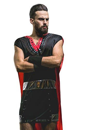 Adult Men Gladiator Hallooween Costume Roman Greek Warrior Dress Up & Role Play (Standard+, black, red)