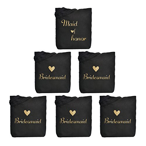 ElegantPark 1 Pcs Maid of Honor Bag + 5 Pcs Bridesmaid Tote Bags Set for Women's Wedding Favors Bachelorette Gift Black with Gold Script 100% (Gift Tote Gift Set)