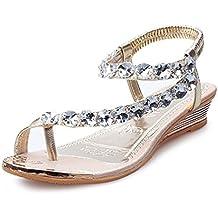 Han Shi Fashion Woman Summer Sandals Rhinestone Flip Flops Flats Platform Wedges Shoes