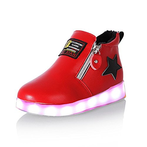 Kids shoes 11 Colors LED Light Up Shoes High Top Flashing USB Charge Casual Sneakers for Christmas (Red 12 M US Little Kid)