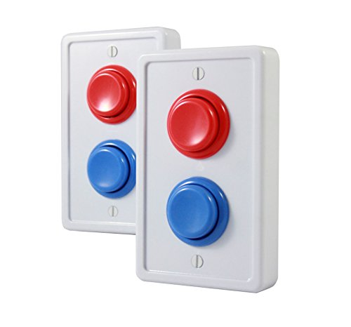 Arcade Light Switch Plate - Single Switch (2 pack- White/Red/Blue)