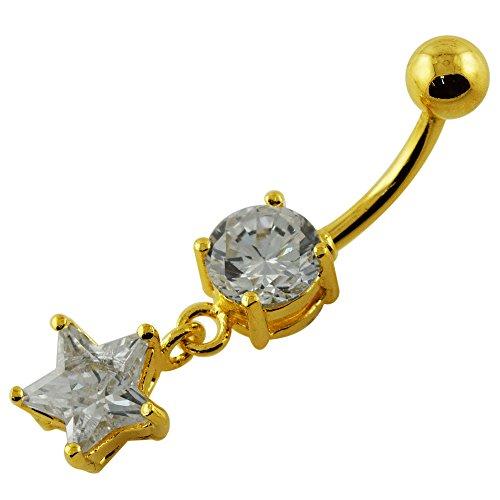 18 K Gold Platting plus ronde fantaisie avec Star Pierre Dangle barres de ventre en argent Sterling 925
