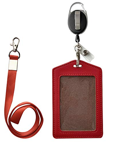 ID Card Case + Heavy Duty Lanyard (Red)+ Badge Holder Retractable Reel Carabiner and Plastic Clip (Soft Genuine Leather Case)