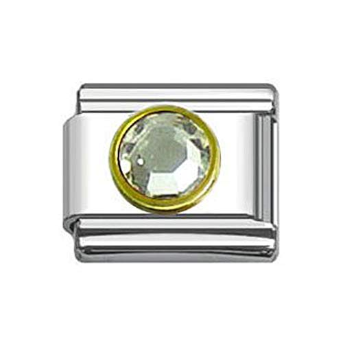 (SEXY SPARKLES Birthstone Italian Charm Bracelet 9mm Link Choose Your Birthstone from Menu)