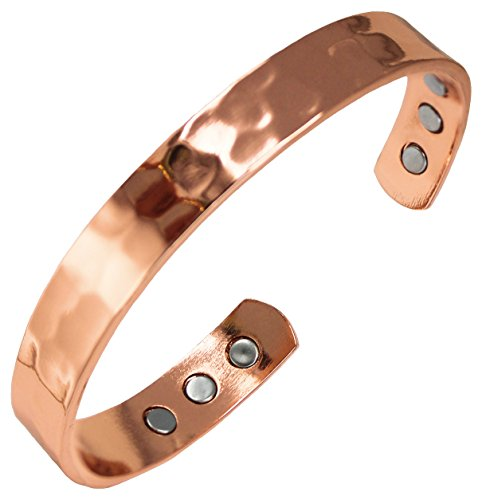 Pure Copper Hammered Magnetic Healing Bracelet for Arthritis, Migraine, and Joint Pain Relief - Adustable Sizing - Earth Therapy