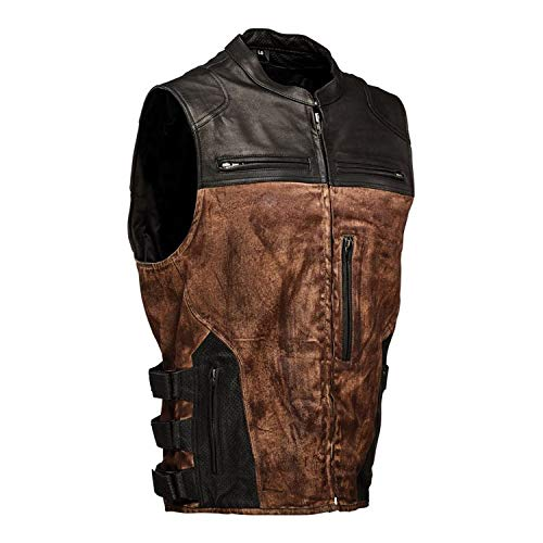 (Speed and Strength Tough as Nails Men's Street Motorcycle Vest - Brown/Small)