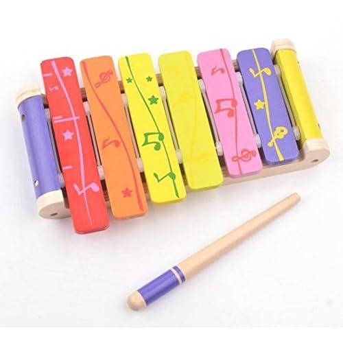 B & Julian® Enfants Xylophone en bois 6Multicolore son plättchen Instrument Glockenspiel Musique Jouets pour enfants à partir de 18mois