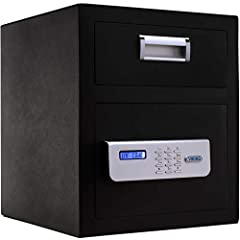Features & Specifications: Body material: Steel, Black powder coating; Interior: Build in LED light Locking system: Motorized deadbolt locking mechanism with B-Rated Highly Secure Override keys (2 included); Safety features: Pry-resistant...