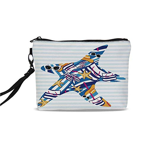 Starfish Decor Simple Cosmetic Bag,Cartoon Style Starfish with Summer Vacation Accessories Striped Backdrop Decorative for Women,9