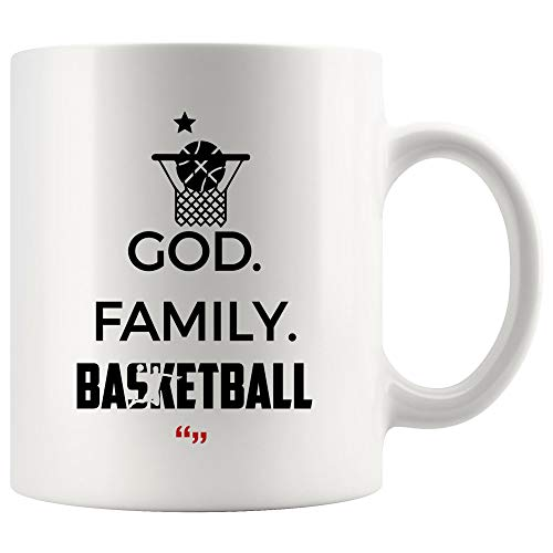 God Family Basketball Player Sport Mug - Coffee Cup Team Play Sports Player Coach Instructor Trainer Mugs Gift Men Women Kid Referee Funny Humor Meme Gifts Beer Tea Cup Humorous