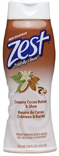 Zest Body Wash, Creamy Cocoa Butter & Shea 18 oz (Pack of 3)