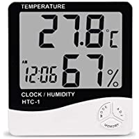 Digital Hygrometer Thermometer Indoor Outdoor Humidity Temperature Monitor with LCD Display Alarm Clock