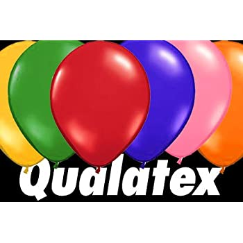 """Qualatex 9"""" Balloons, Standard Assortment with White Latex - Pack of 100"""
