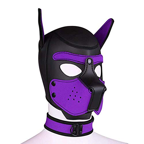 Neoprene Puppy Hood Camo Full Face Mask Cosplay Costume with Neck Collar Chokers (Purple)
