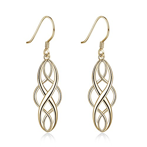 Sterling Silver Celtic Knot Vintage Inifity Drop Dangle Earrings for Women Girls 925 Luckly Dangling Nice Gifts (gold) ()