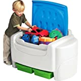 White and Blue Sort 'N Store Toy Chest, Extra-Large Capacity Toy Chest, 2 Removable Bins, Detachable Lid for Safety Bundle with Expert Guide for Better Life