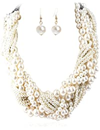 Women's Fashion Jewelry Pearl Multi-pearl Shell Necklace Chokers Chains Earring Jewelry Set