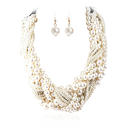 IPINK Women's Fashion Jewelry Pearl Multi-Pearl Shell Necklace Chokers Chains Earring Jewelry Set -