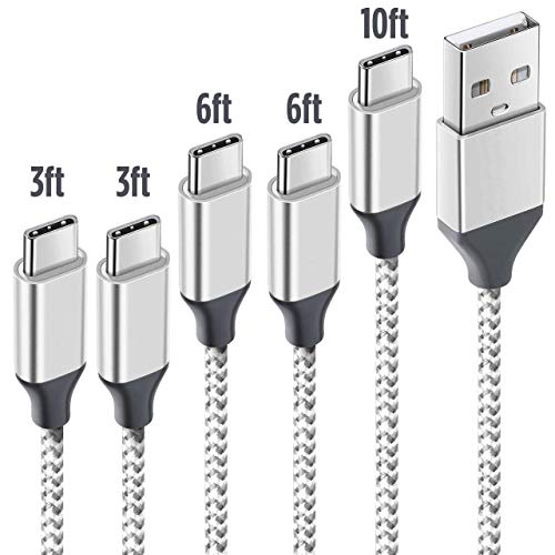 NganHing USB Type C Cable 5 Pack Type-C to USB-A Charger Nylon Braided Fast Charging Cord for Samsung Galaxy S9 S8 Note 8 Pixel Nintendo Switch LG (Silver)