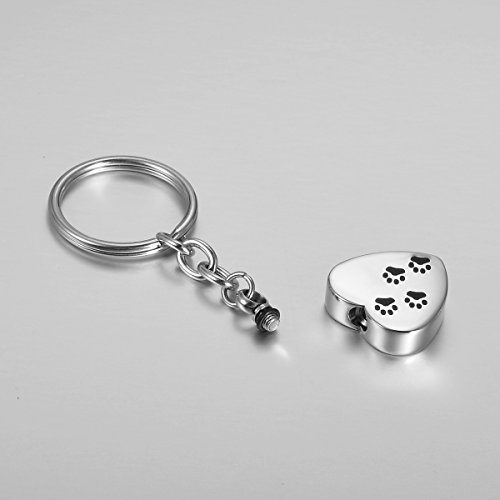 Picture of VALYRIA Silver Memorial Pet/Dog Paw on Heart Keychain Pet Urn Keepsake Charm Ashes Keyring