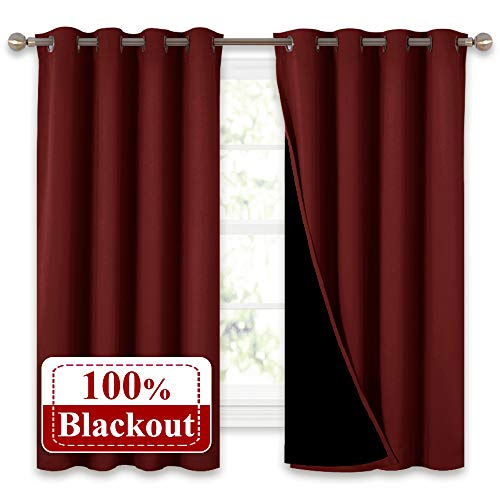 NICETOWN 100% Blackout Curtain Panels, Thermal Insulated Curtains, Noise Reducing Drapes for Thanksgiving Day Window Decor (Set of 2, Burgundy Red, 52 inches Wide by 63 inches Long)