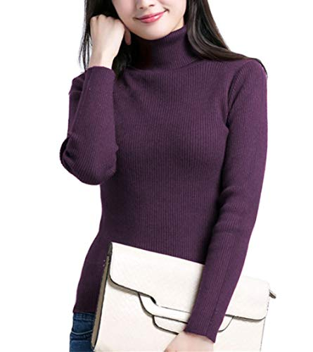 Fengtre Turtleneck Pullover Sweater, Women's Cashmere Stretchy Knit Top,Dark Purple L