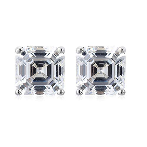 Platinum Plated 925 Sterling Silver Stud Earrings set with Square Asscher Cut 6mm (Stud Asscher)