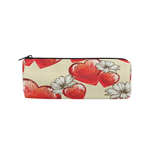 TropicalLife Valentine's Day Red Heart Shaped Pencil Case with Zipper Pen Pouch Makeup Bag for School Office - Personalized Heart Shaped Pen