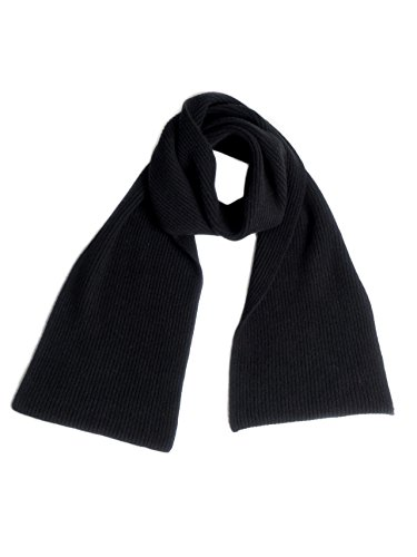 Cashmere Ribbed Scarf (Dalle Piane Cashmere - Ribbed Scarf 100% cashmere - Man, Color Black, One size)