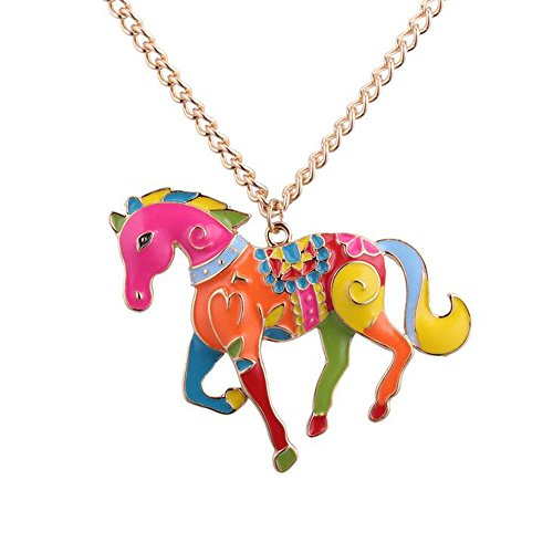 Gold Horse Heart - YINLI Love Heart Enamel Zinc Alloy Metal Horse Necklace Animal Pendant Exclusive Design 24