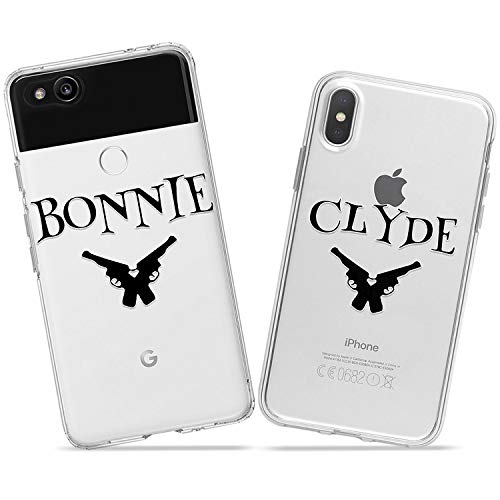 Wonder Wild Bonnie and Clyde Couple Case iPhone Xs Max X Xr 10 8 Plus 7 6s 6 SE 5s 5 TPU Clear Gift Apple Phone Cover Print Protective Double Pack Silicone Pair Matching Gun Pistols Crime Partners ()