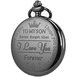 Pocket Watch Men Personalized Black Chain SIBOSUN Quartz Gift Mother Father Dad to Son Engraved Analog