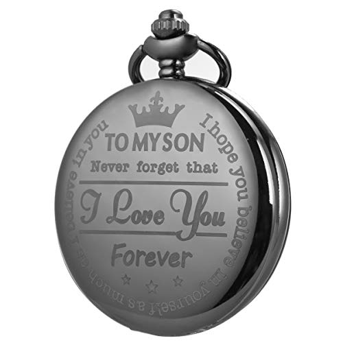 Pocket Watch Men Personalized Black Chain SIBOSUN Quartz Gift Mother Father Dad to Son Engraved Analog by SIBOSUN