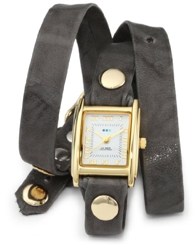 (La Mer Collections Women's LMWTW1033 14k Gold-Plated Watch with Grey Leather Wrap-Around Band)