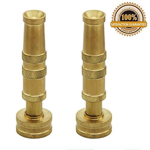 Twinkle Star Heavy-Duty Brass Adjustable Twist Hose Nozzle, 2 Pack, - Brass Nozzle Hose