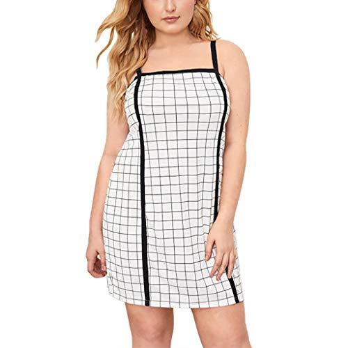 2019 New Womens Sleeveless Breathable Loose Spaghetti Dress Summer Outdoor Grid Plaid Print Piping Trim Slip Camis Dress (White, 3XL)