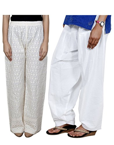 (Indistar Women's Full Cotton Chikan Palazzo With Cotton Semi Patiala Salwar (Pack of 1 Palazzo With 1 Patiala Salwar) Free Size Cream/ White)