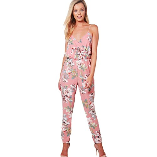 Han Shi Jumpsuits, Women Wrap Top V-Neck Floral Printed Sleeveless Party Trousers Bodysuit (L, Pink)