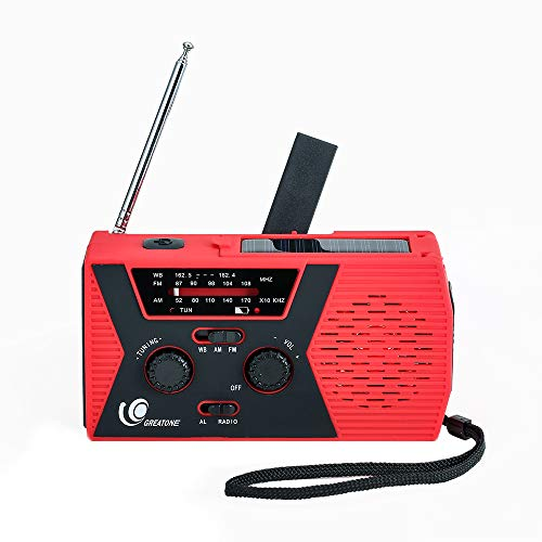 [2019 Upgraded Version] Great One Emergency Solar Crank Radio with Flashlight & Reading Lamp,NOAA Weather Radio,2000mAh Power Bank and SOS Alarm018WB red
