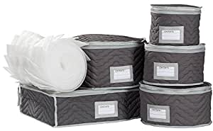 China Tea Cups and Plates Storage Set - Deluxe Quilted Microfiber – Grey, with Braidz Foam Padding