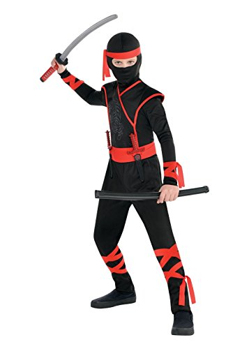 Ninja Costume for Halloween Party, School Acting, Costume Party, Play Karate Game, Dia Brujas for Kids Size M (1 Pack) -