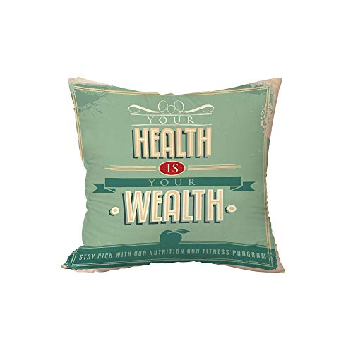 Polyester Throw Pillow Cushion,Fitness,Your Health is Your Wealth Vintage Poster Design Inspirational Decorative,Pale Green Light Orange Tan,17.7x17.7Inches,for Sofa Bedroom Car Decorate