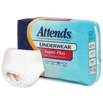 Super Plus Absorbency Underwear (Attends Underwear Super Plus Absorbency with Leakage Barriers-(1 CASE, 72 EACH))